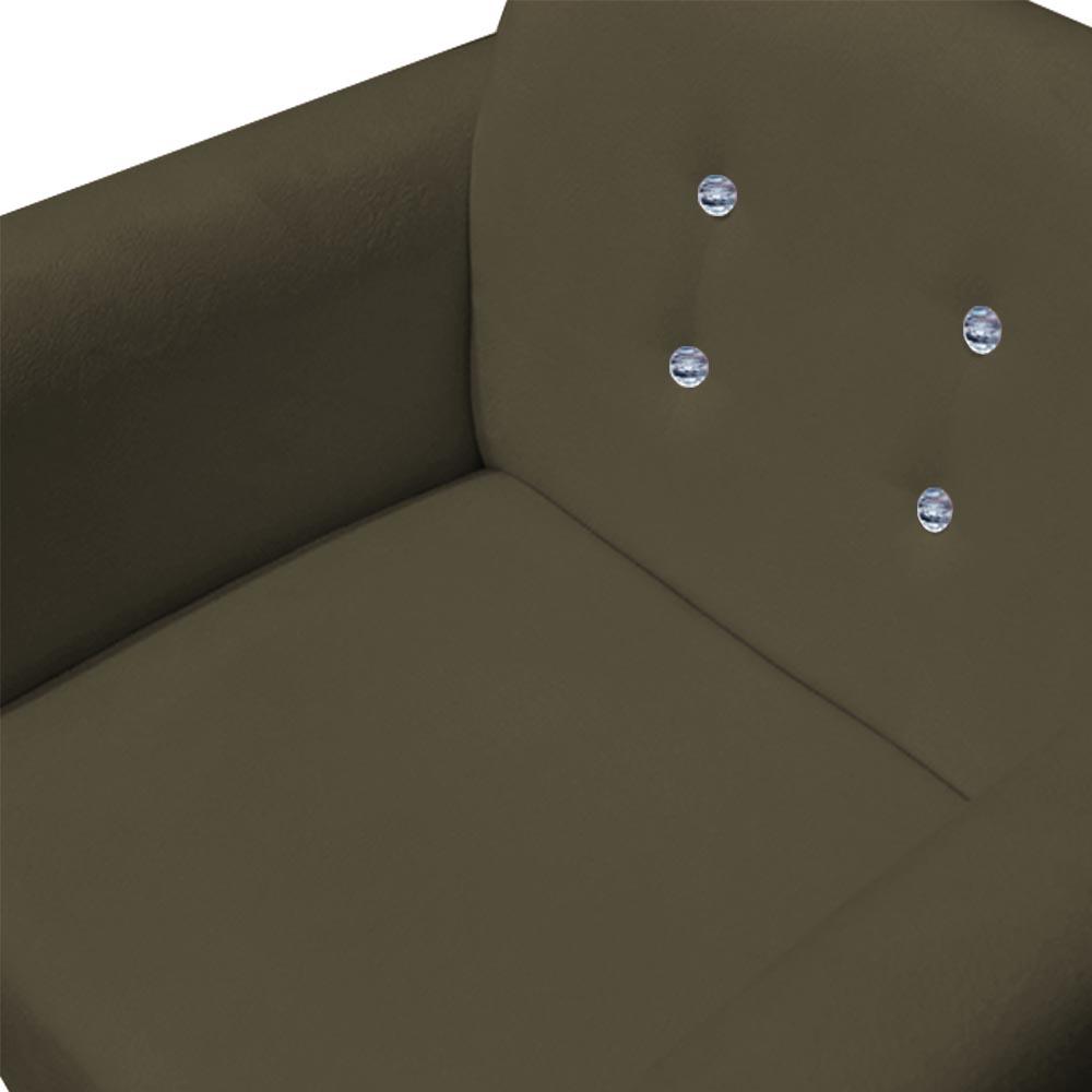 Poltrona Duda Strass Decoração Cadeira Escritório Consultório Salão D'Classe Decor Suede Marrom Rato