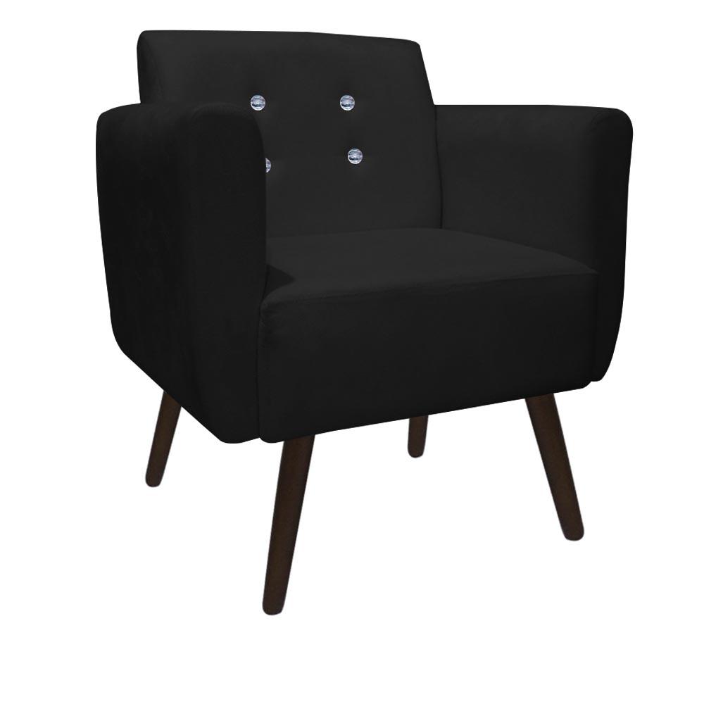 Poltrona Duda Strass Decoração Cadeira Escritório Consultório Salão D'Classe Decor Suede Preto