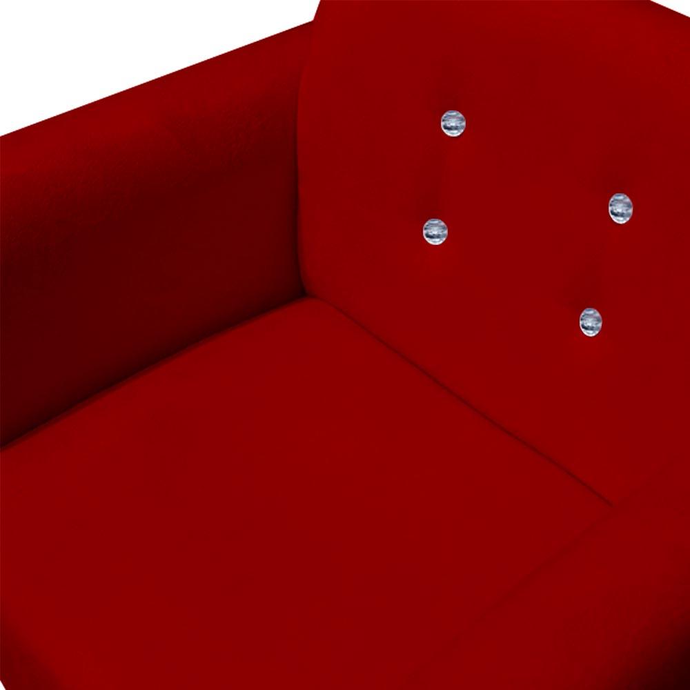 Poltrona Duda Strass Decoração Cadeira Escritório Consultório Salão D'Classe Decor Suede Vermelho