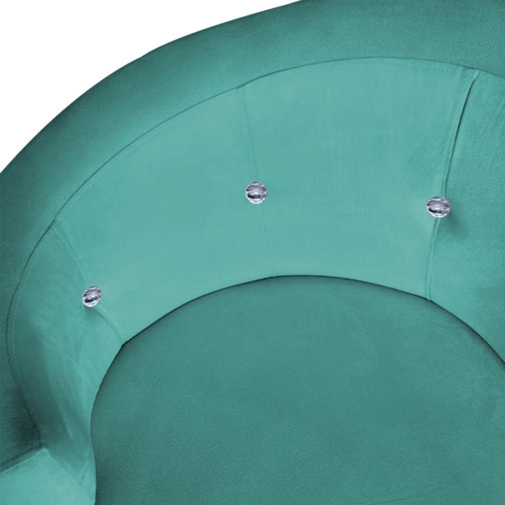 Poltrona Giovana Strass Decoração Base Giratória Clinica Escritório Recepção Suede Azul Tiffany