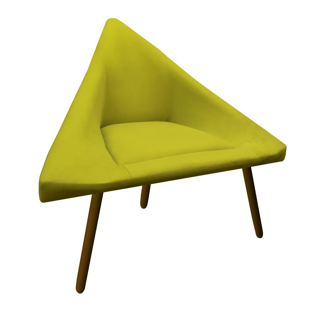 Poltrona Ibiza Triângulo Decoração Sala Estar Clinica Recepção Escritório Quarto Cadeira D'Classe Decor Suede Amarelo