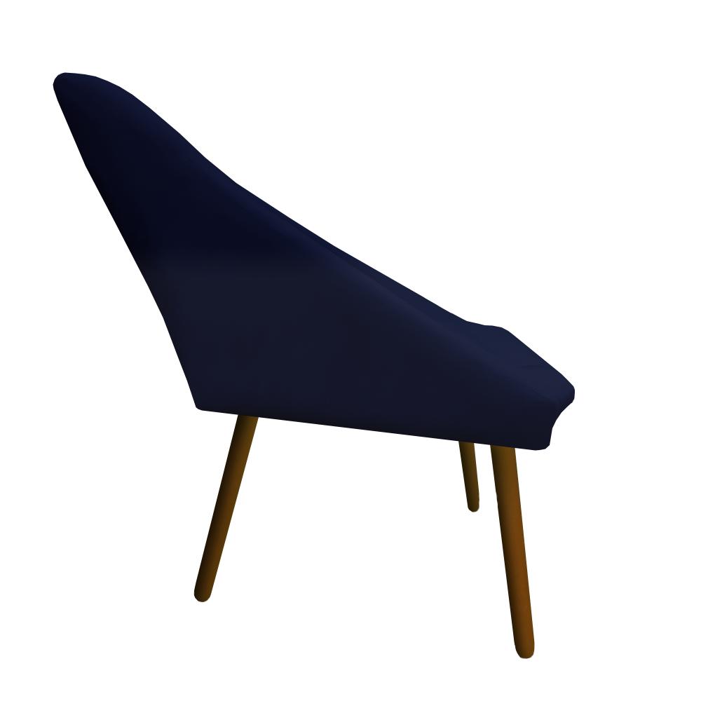 Poltrona Ibiza Triângulo Decoração Sala Recepção Escritório Quarto Cadeira Suede Azul Marinho
