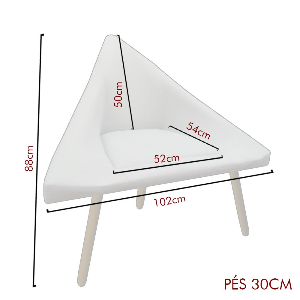Poltrona Ibiza Triângulo Decoração Sala Recepção Escritório Quarto Cadeira Suede Bege