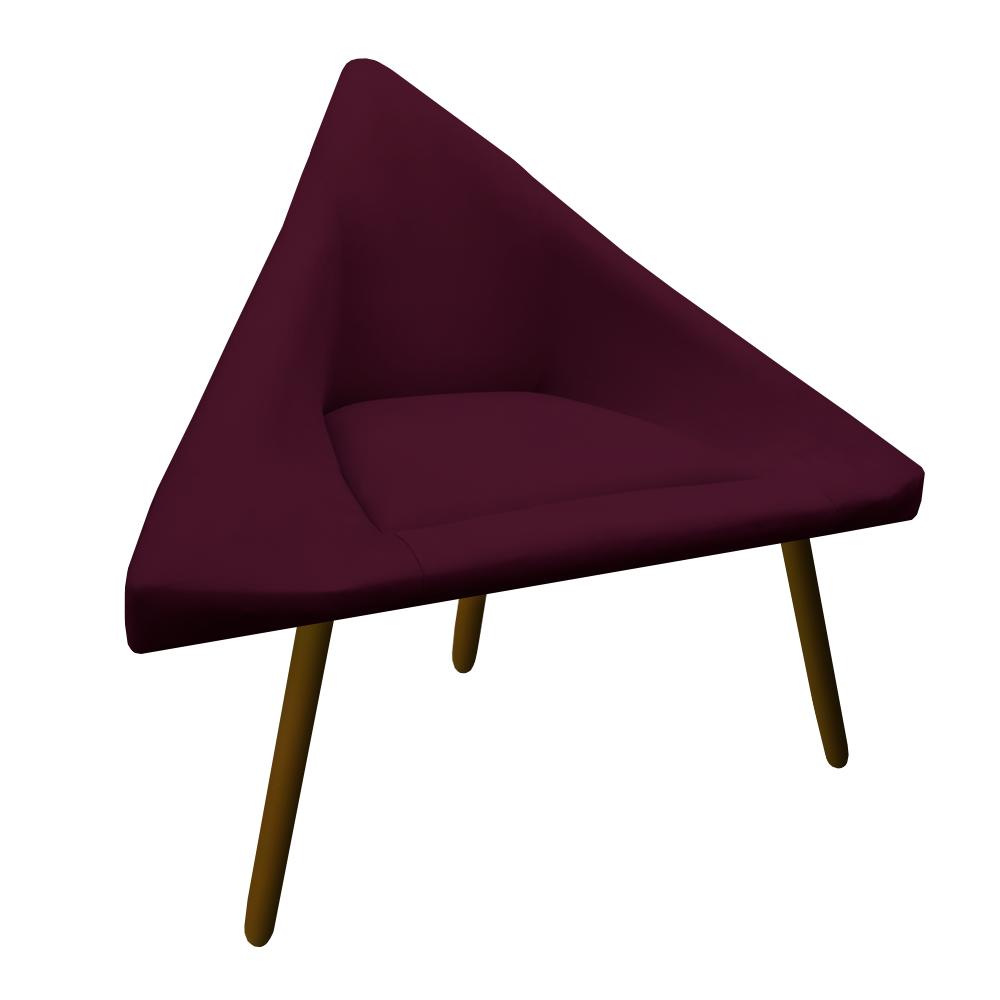 Poltrona Ibiza Triângulo Decoração Sala Recepção Escritório Quarto Cadeira Suede Marsala