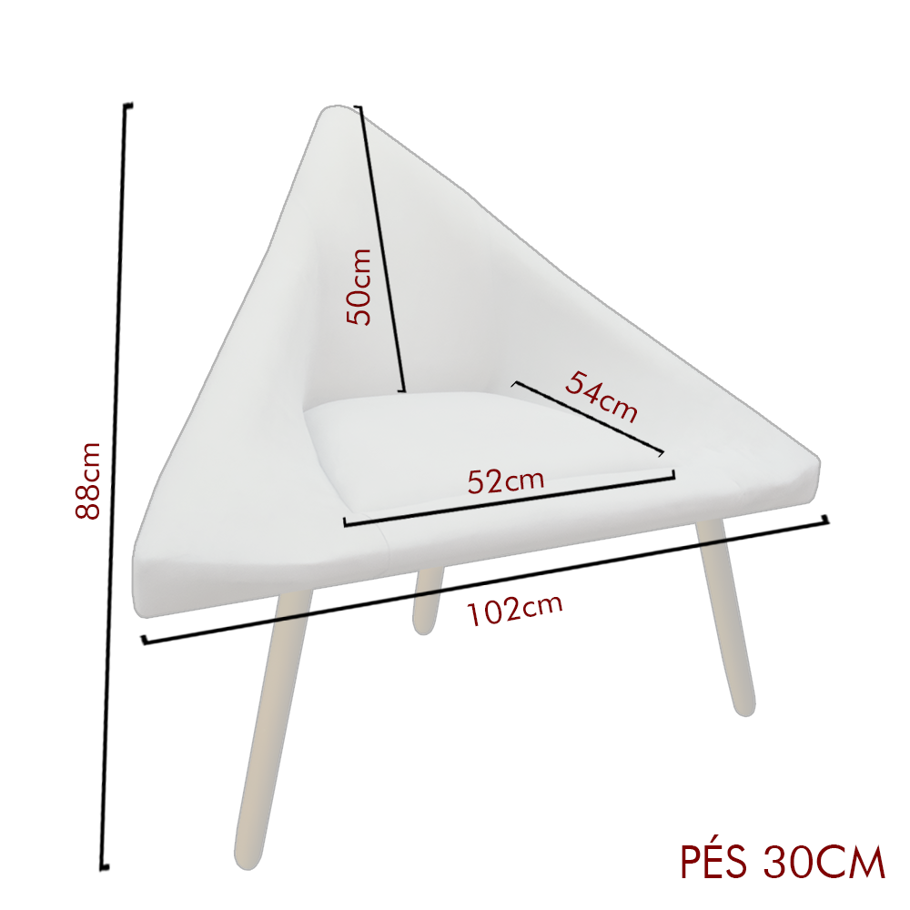 Poltrona Ibiza Triângulo Decoração Sala Recepção Escritório Quarto Cadeira Suede Preto