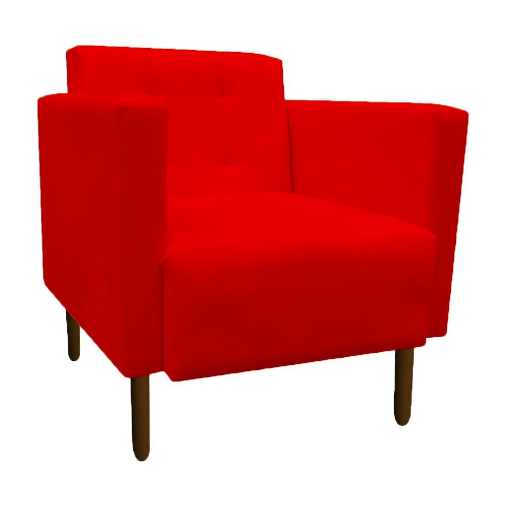 Poltrona Isa Decoração Clinica Recepção Escritório Quarto Cadeira D'Classe Decor Suede Vermelho