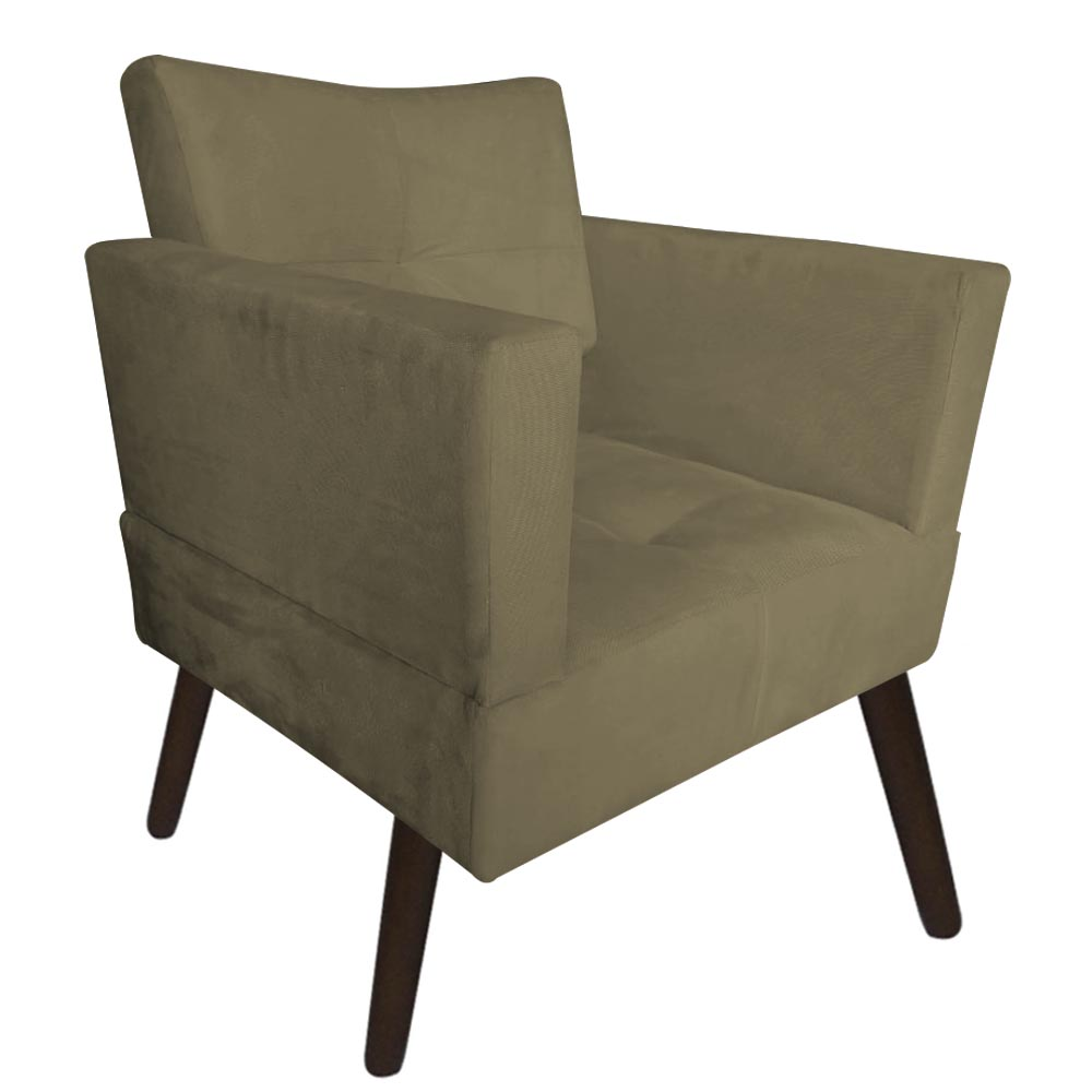 Poltrona Jollie Decoração Pé Palito Luxo Cadeira Sala Estar Escritório Recepção Suede Marrom Rato
