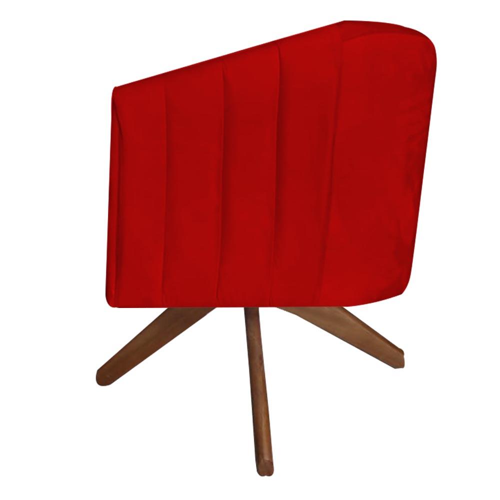 Poltrona Julia Decoração Base Giratória Salão Clinica Cadeira Escritório Recepção D'Classe Decor Suede  Vermelho