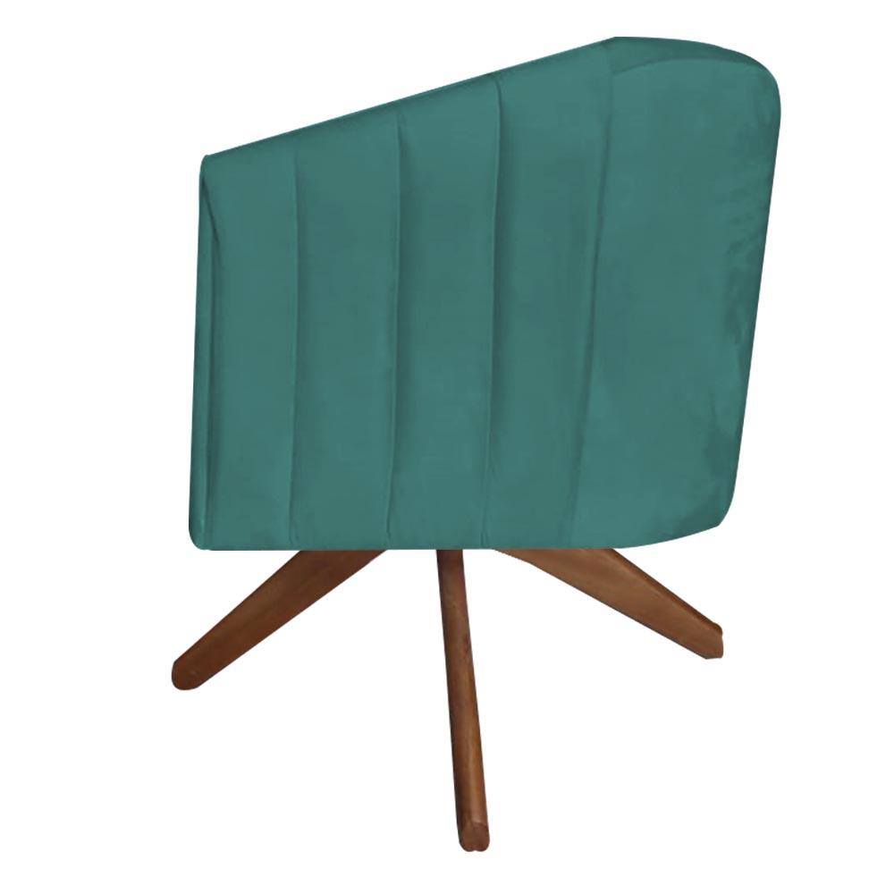 Poltrona Julia Decoração Base Giratória Salão Clinica Cadeira Escritório Recepção Suede  Az Tiffany