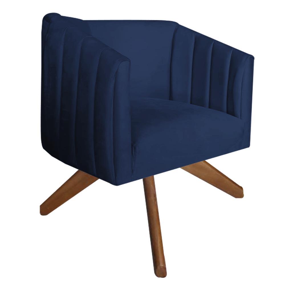 Poltrona Julia Decoração Base Giratória Salão Clinica Cadeira Escritório Recepção Suede  Azul Marinho