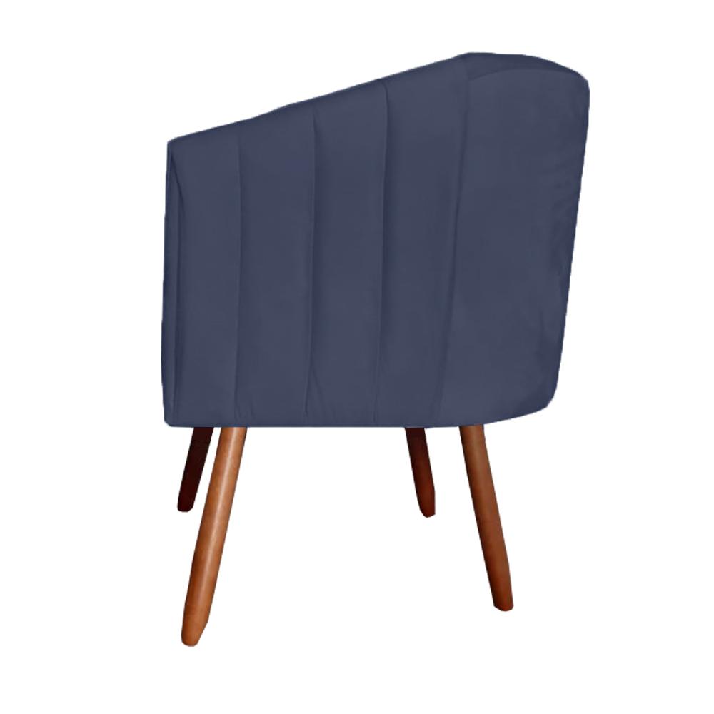 Poltrona Julia Decoração Salão Cadeira Escritório Recepção Estar Amamentação Suede Azul Marinho