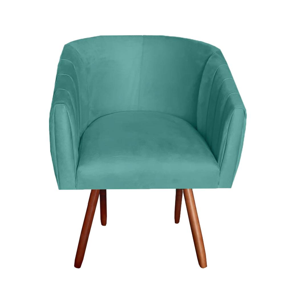 Poltrona Julia Decoração Salão Cadeira Escritório Recepção Estar Amamentação Suede Azul Tiffany