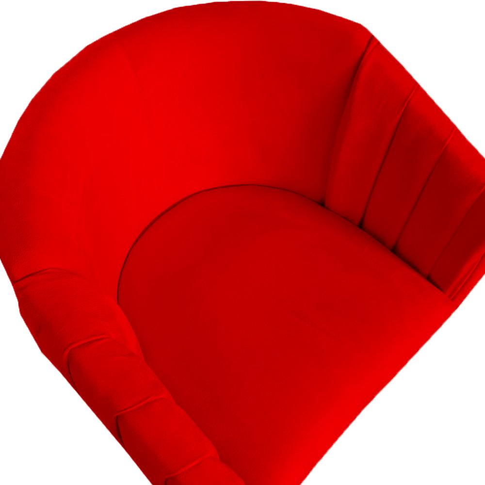 Poltrona Julia Decoração Salão Cadeira Escritório Recepção Sala Estar Amamentação D'Classe Decor Suede Vermelho
