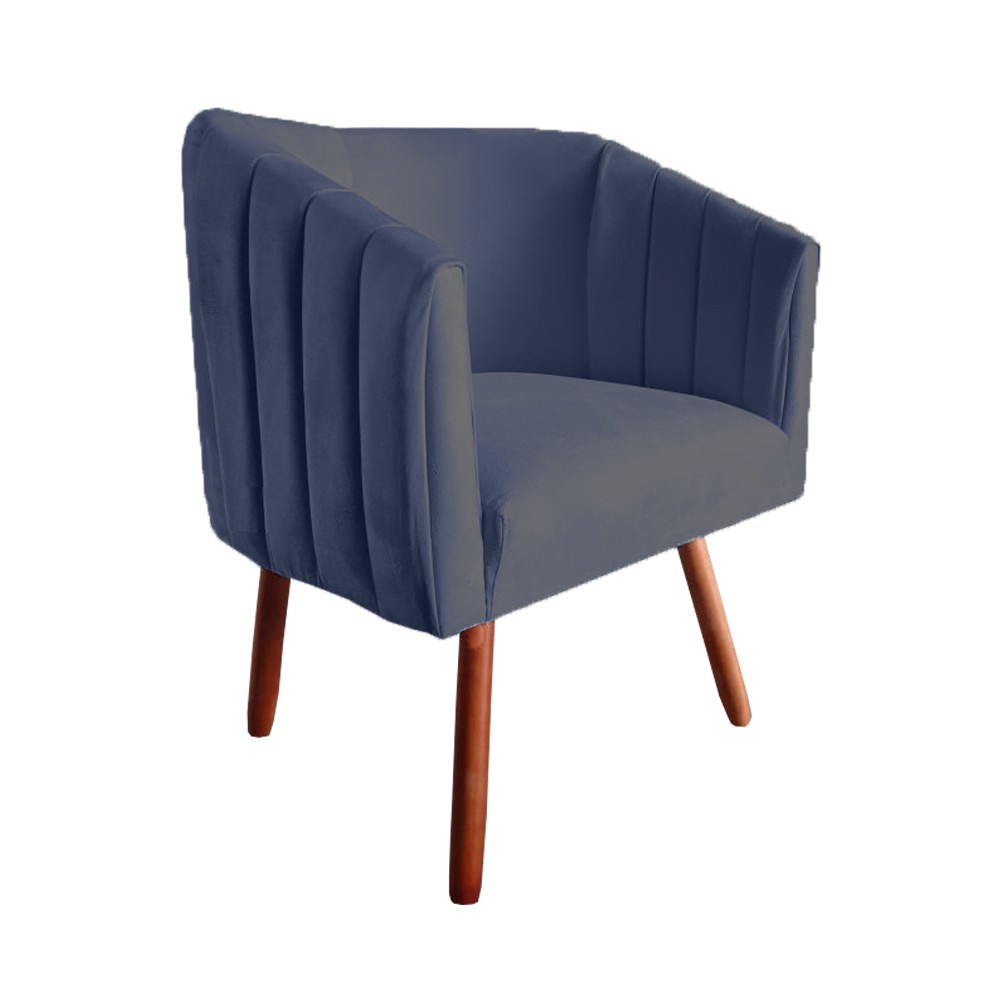 Poltrona Julia Decorativa Sala de Estar Escritório Suede Azul Marinho D02 - D´Classe Decor