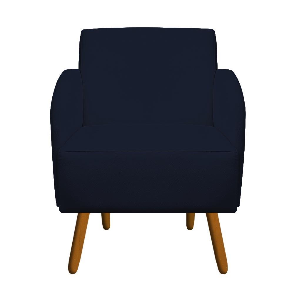 Poltrona Laura Decoração Pé Palito Sofá Sala Jantar Escritório Recepção Suede Azul Marinho