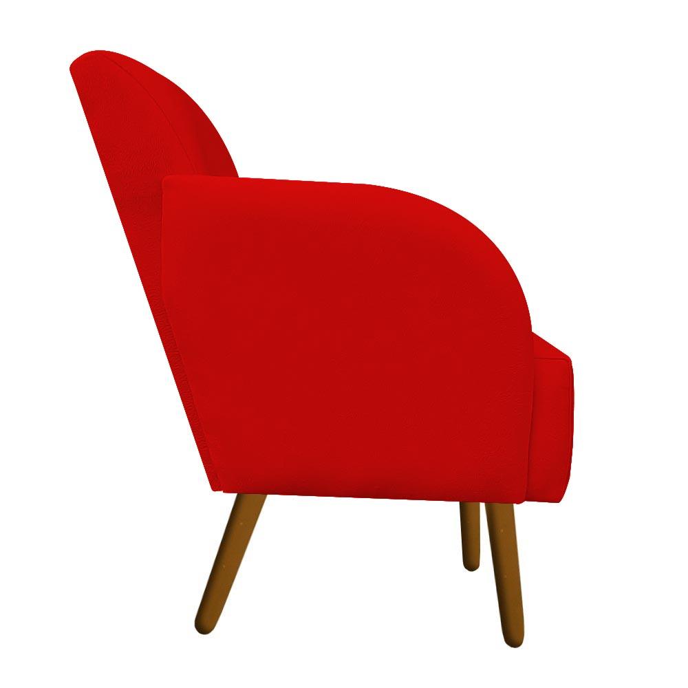 Poltrona Laura Decoração Pé Palito Sofá Sala Jantar Escritório Recepção Suede Vermelho