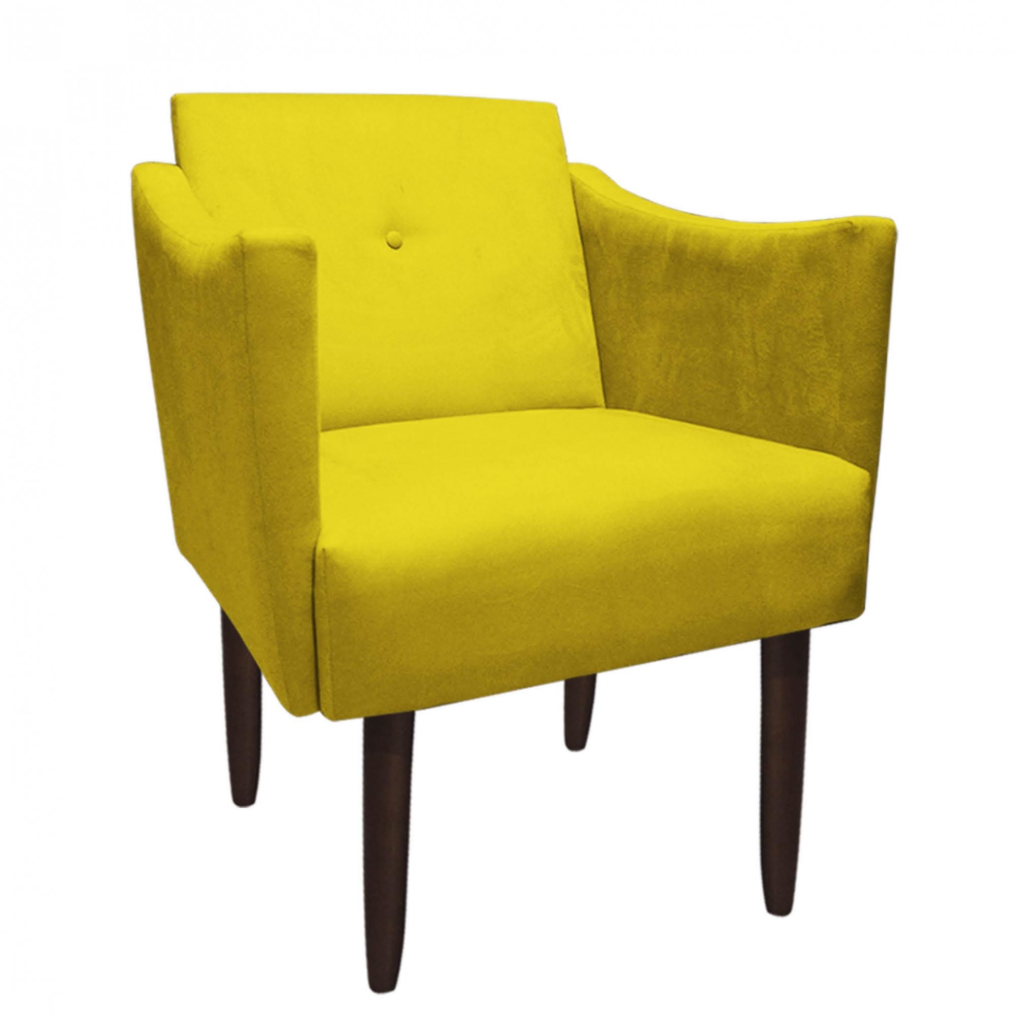 Poltrona Naty Decoração Clínica Salão Cadeira Recepção Escritório Estar D'Classe Decor Suede Amarelo