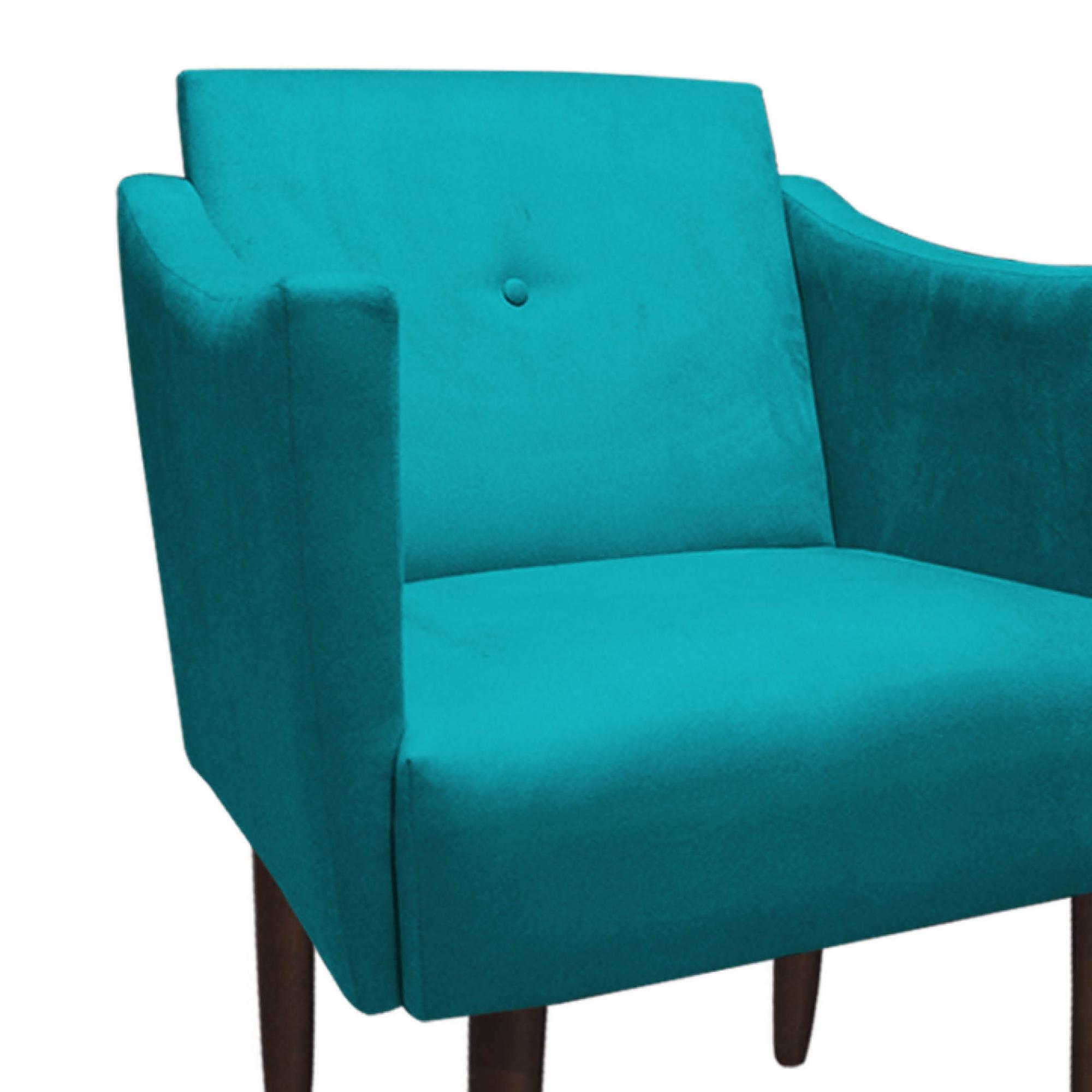Poltrona Naty Decoração Clínica Salão Cadeira Recepção Escritório Sala Estar  D'Classe Decor Suede Azul Tiffany