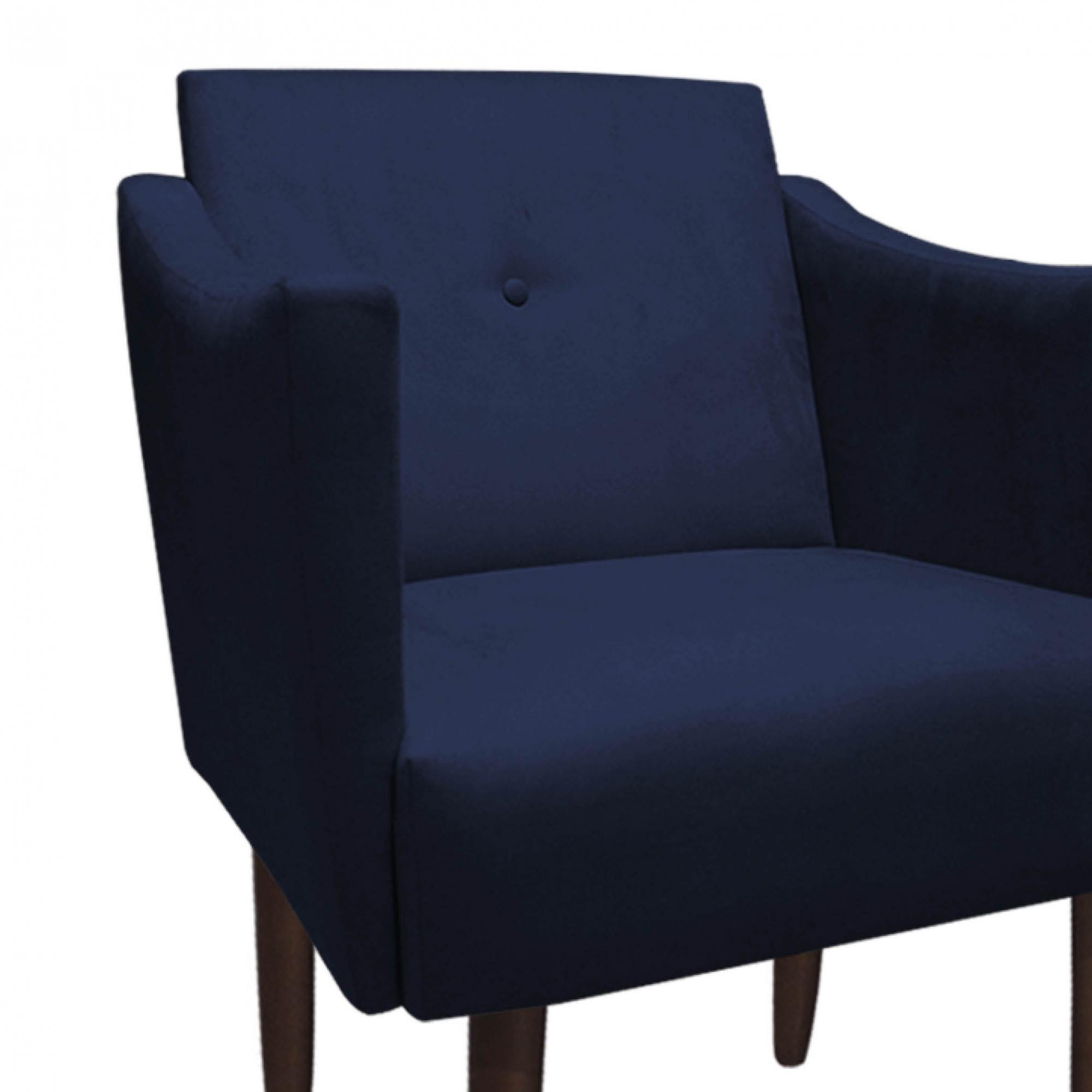 Poltrona Naty Decoração Clínica Salão Cadeira Recepção Escritório Sala Estar  D'Classe Decor Suede Azul Marinho