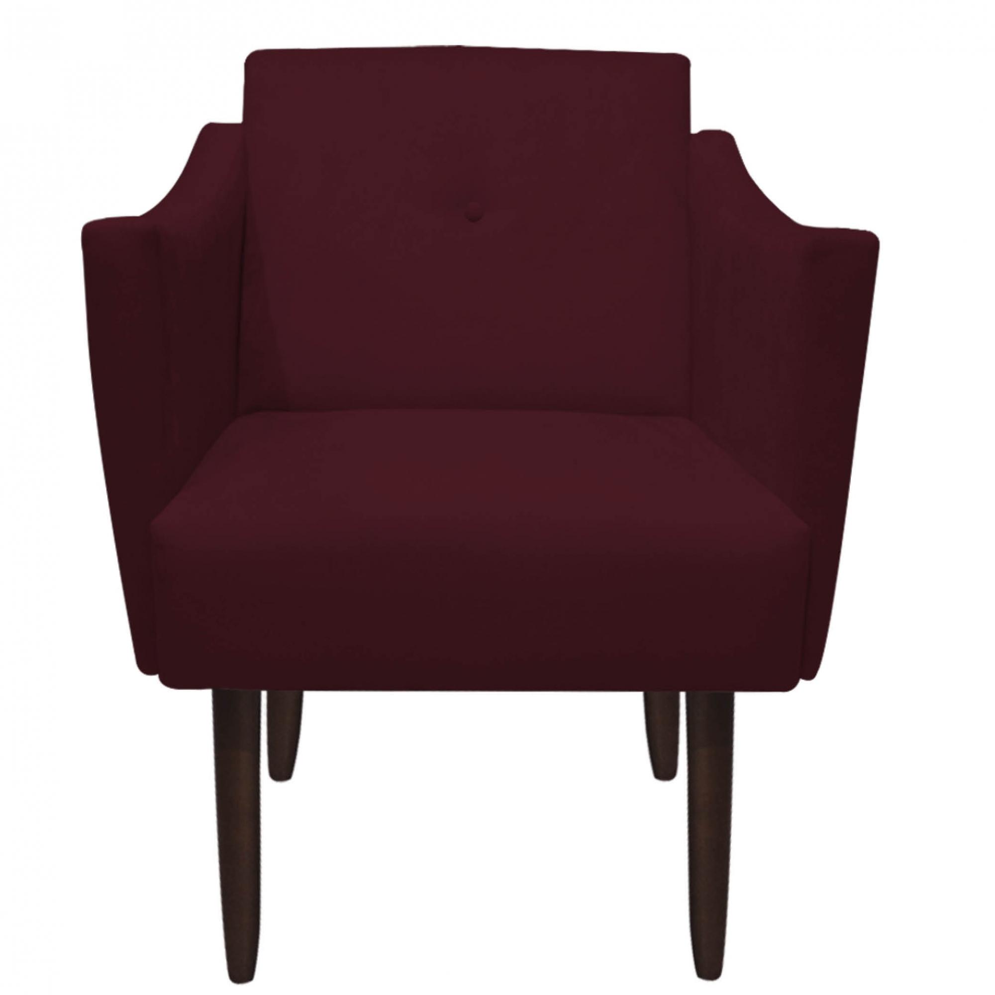 Poltrona Naty Decoração Clínica Salão Cadeira Recepção Escritório Sala Estar D'Classe Decor Suede Marsala