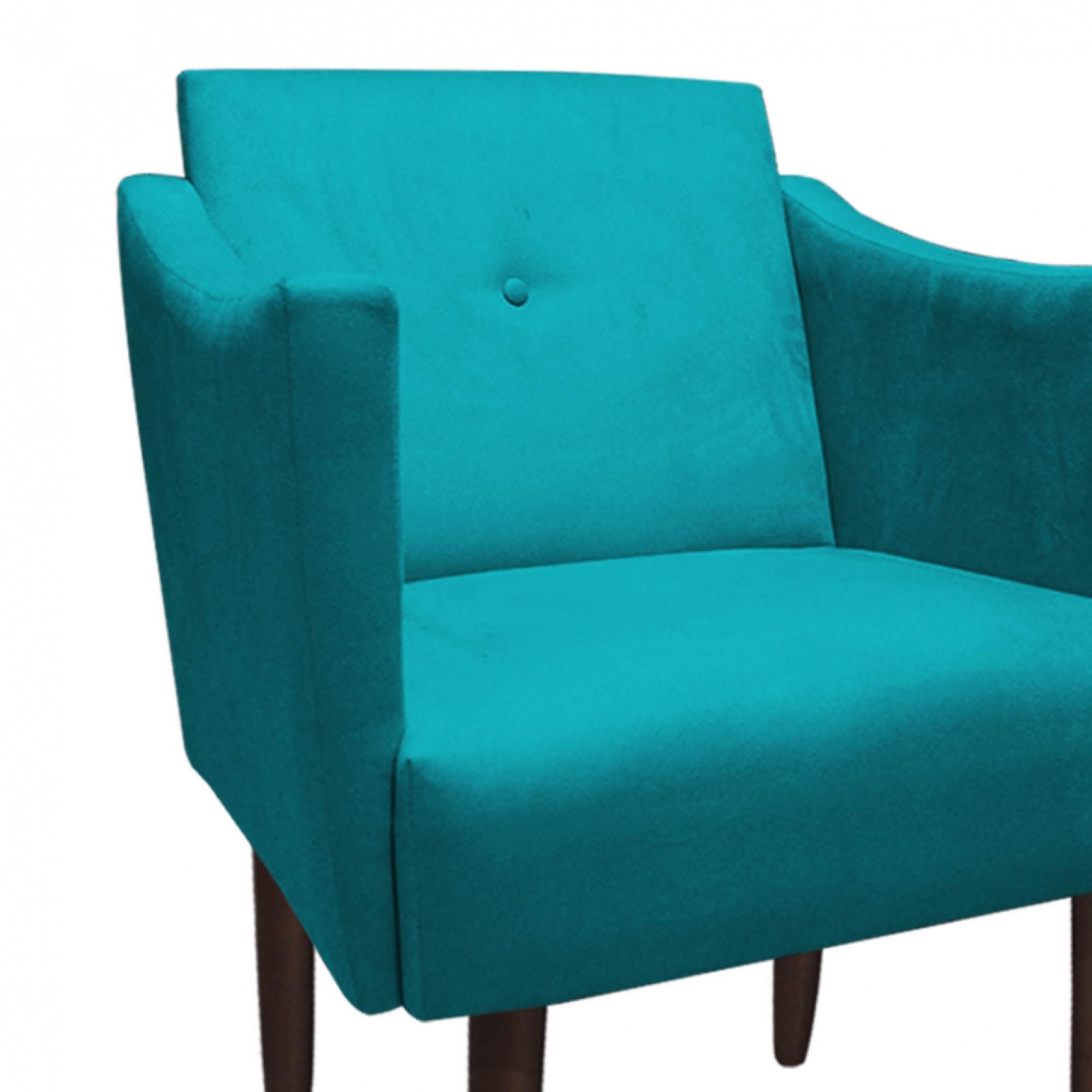 Poltrona Naty Decorativa Sala de Estar Recepção Pé Palito Suede Azul Tifany D05 - D´Classe Decor