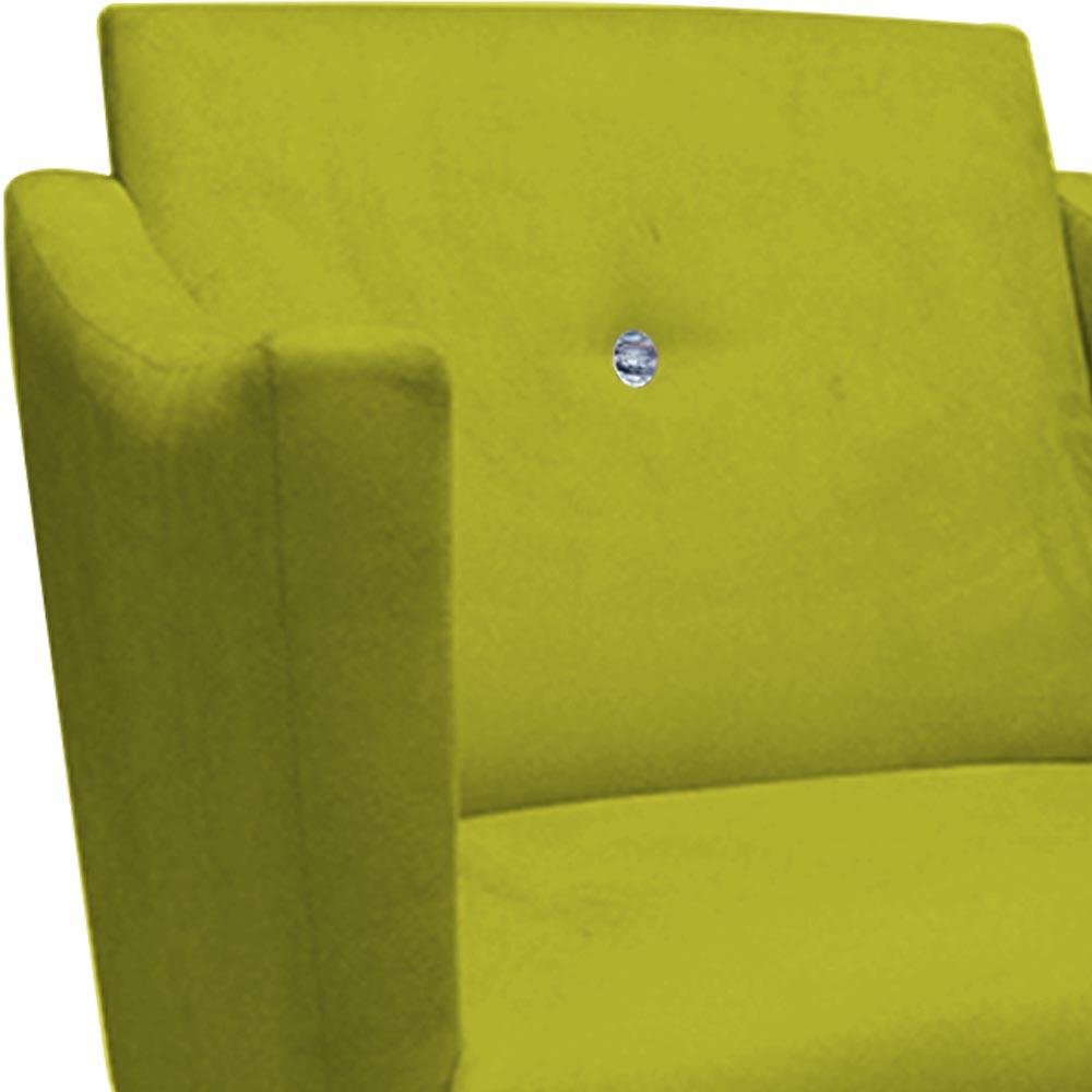Poltrona Naty Strass Decoração Cadeira Clinica Recepção Salão Escritório D'Classe Decor Suede Amarelo