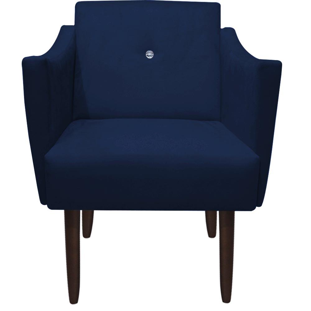 Poltrona Naty Strass Decoração Cadeira Clinica Recepção Salão Escritório D'Classe Decor Suede Azul Marinho
