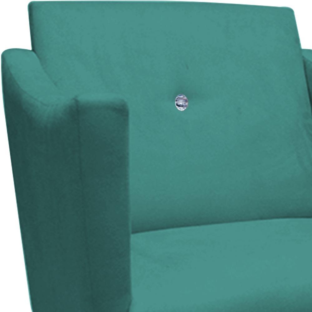 Poltrona Naty Strass Decoração Cadeira Clinica Recepção Salão Escritório D'Classe Decor Suede Azul Tiffany