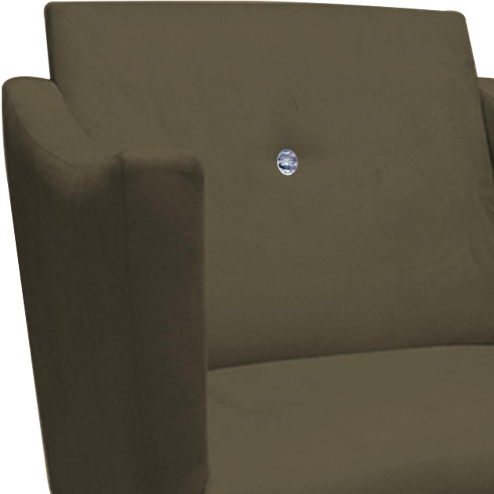 Poltrona Naty Strass Decoração Cadeira Clinica Recepção Salão Escritório D'Classe Decor Suede Marrom Rato