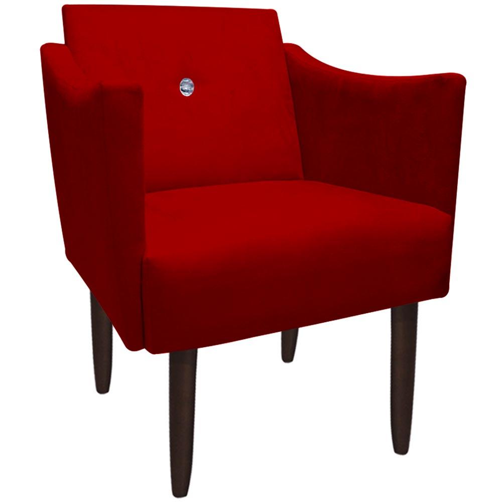 Poltrona Naty Strass Decoração Cadeira Clinica Recepção Salão Escritório D'Classe Decor Suede Vermelho