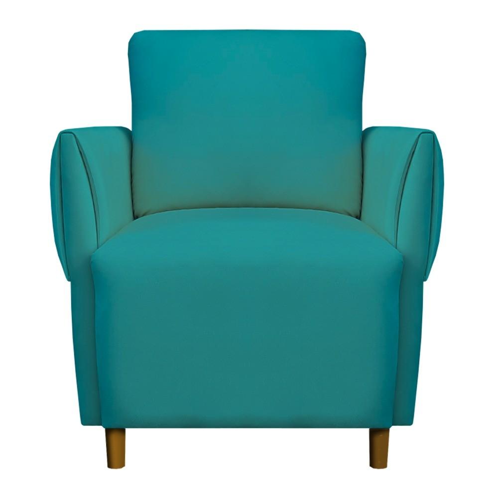 Poltrona Nicolle Decoração Clinica Escritório Recepção Sala Estar Quarto Salão D'Classe Decor Suede Azul Tiffany