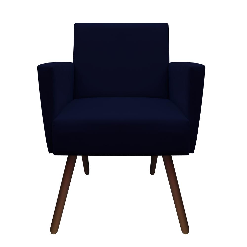 Poltrona Nina Decoração Sala Estar Clinica Recepção Escritório Quarto Cadeira D'Classe Decor Suede Azul Marinho