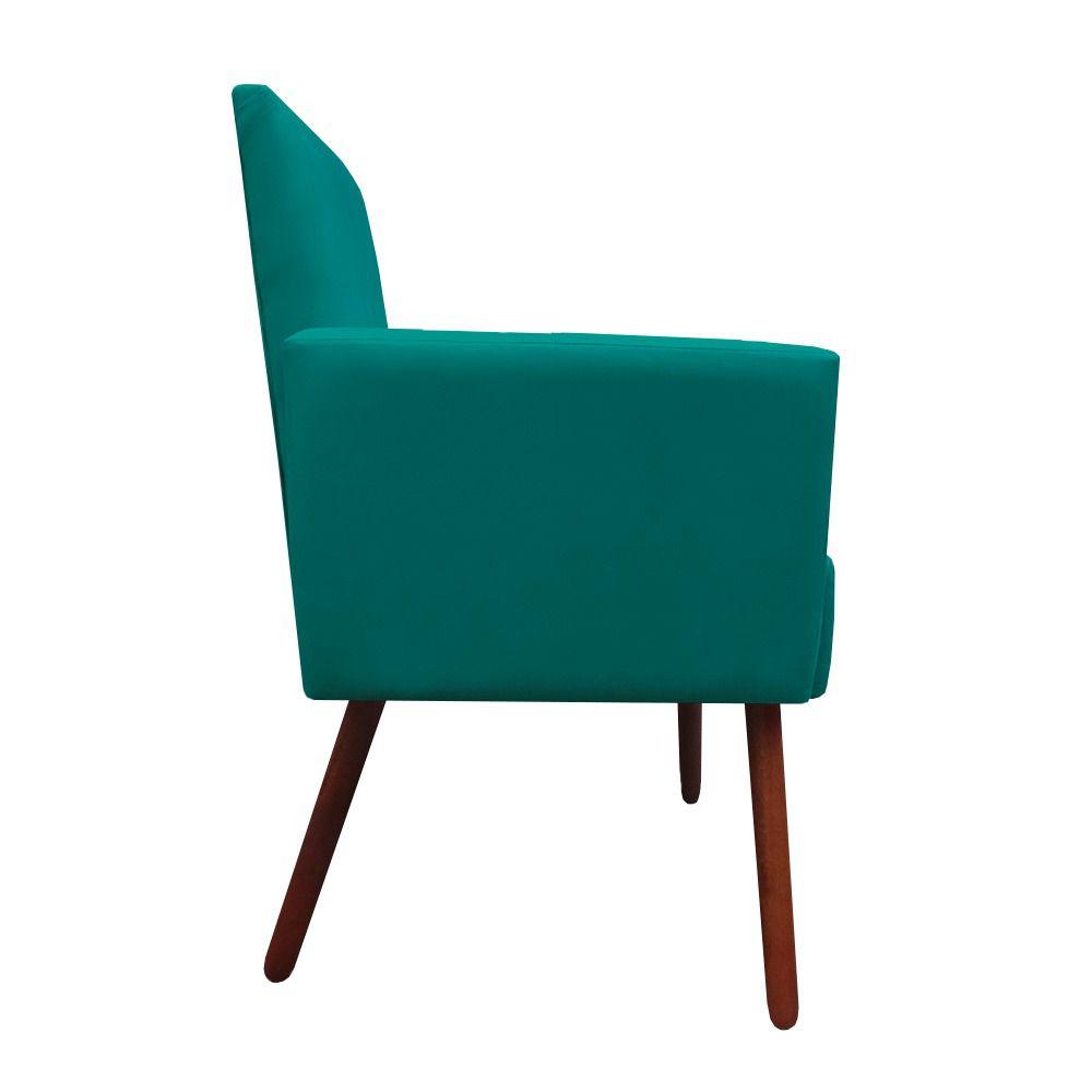 Poltrona Nina Decoração Sala Estar Clinica Recepção Escritório Quarto Cadeira D'Classe Decor Suede Azul Tiffany