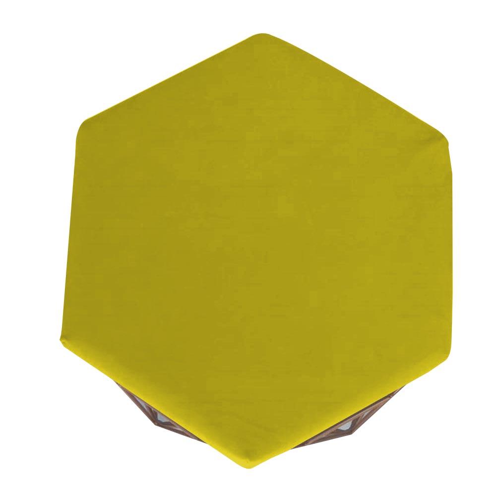 Puff Diamante Aramado Decoração Banqueta Salão Sala Estar Quarto D'Classe Decor Suede Amarelo