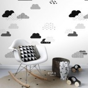 Painel quarto infantil nuvens estilizadas preto e branco