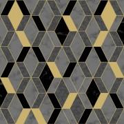 Papel de Parede Hexagone L63809 Geométrico Cinza Escuro