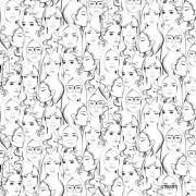 Papel de Parede Infantil desenho mulheres silhuetas femininas