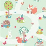 Papel de Parede Infantil quarto bebê bichinhos da floresta raposinha