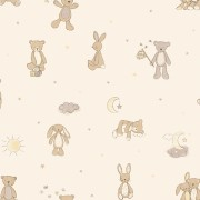 Papel de Parede Infantil quarto bebê ursinhos nude