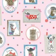 Papel de Parede Infantil Pet cachorrinhos e gatos