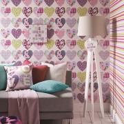 Papel de Parede Infantil quarto menina corações em patchwork