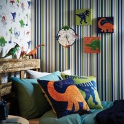 Papel de Parede Infantil moderno quarto menino listras verde azul