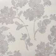 Papel de Parede quarto sala flores cinza com brilho