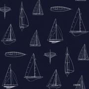 Papel de Parede desenho barcos a vela azul marinho casa de praia mar