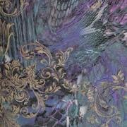 Papel de Parede Roberto Cavalli luxo arabesco pele cobra dourado