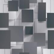 Papel de Parede Romariz quarto sala geométrico 3d cinza