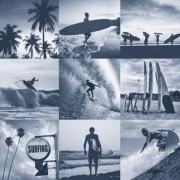 Papel de Parede surfista casa de praia prancha de surf  mar
