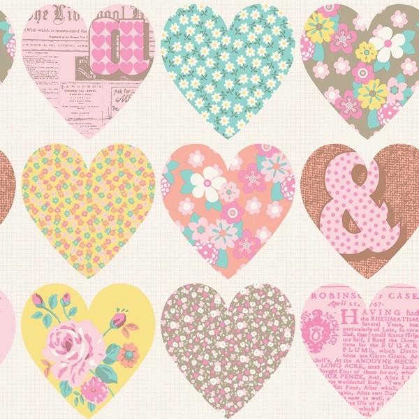 Papel de Parede Infantil FUN1 menina corações patchwork