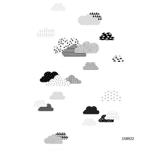 Painel quarto infantil LETS P nuvens estilizadas preto e branco
