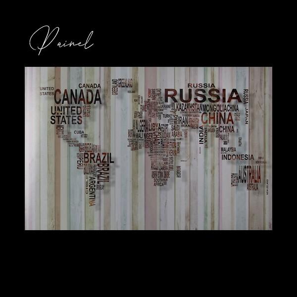 Painel Mundo Mapa em Madeira Classic Designs M17308